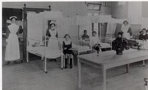 Ward scene at the Rochampton Childrens Hospital early 20th Century.