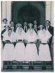 Graduating nursing students with family members, Mater Hospital Rockhampton 1957