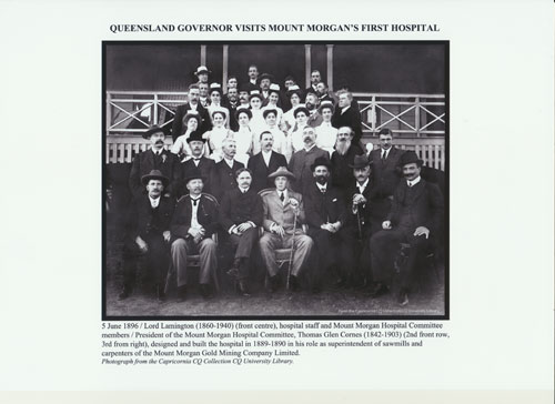Queensland Governor Lord Lamington visits first Mount Morgan Hospital 5th June 1896