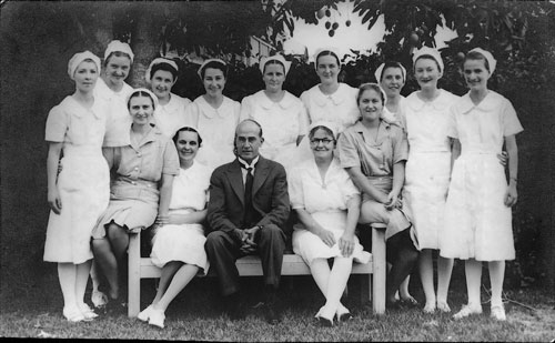 Dr Frank Wooster, Matron Sarah Costello & Staff at Tannachy 1939