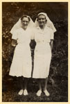 Sisters Rebie Reid and Lillian Abbott at Tannachy Hospital, Rockhampton ca.1940