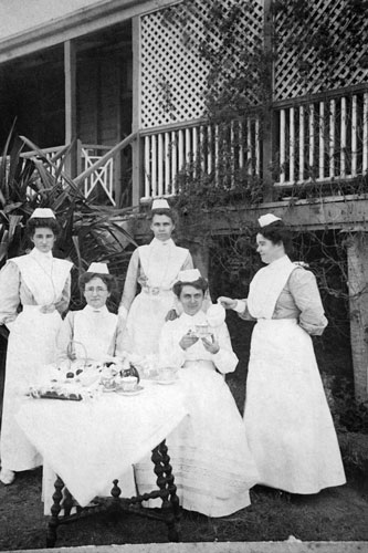 Nursing staff having afternoon tea early 1900