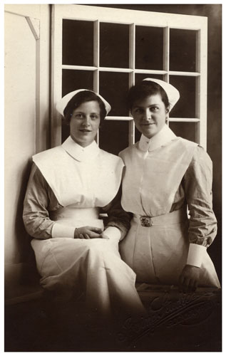 Postcard showing Nurses Whyte and Morgan 1938