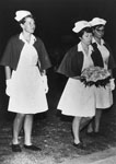 Nurses laying a wreath on Anzac Day 1967