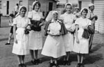 Sister Haynes with student nurses at the Rockhampton Show 1950s