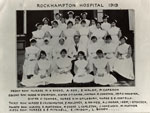 Group photograph of doctors and nurses at the Rockhampton Hospital in 1919