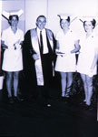 Rockhampton Hospital Medical Superintendent Mr Tom Sale with nurses at graduation 1971